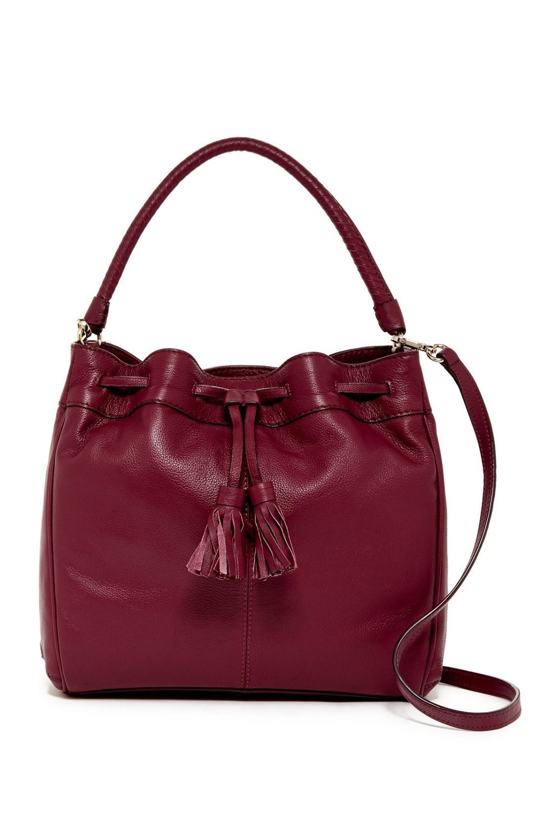 The perfect fall staple!  Cole Haan Cabernet Loveth Double Strap Leather Hobo Bucket Bag