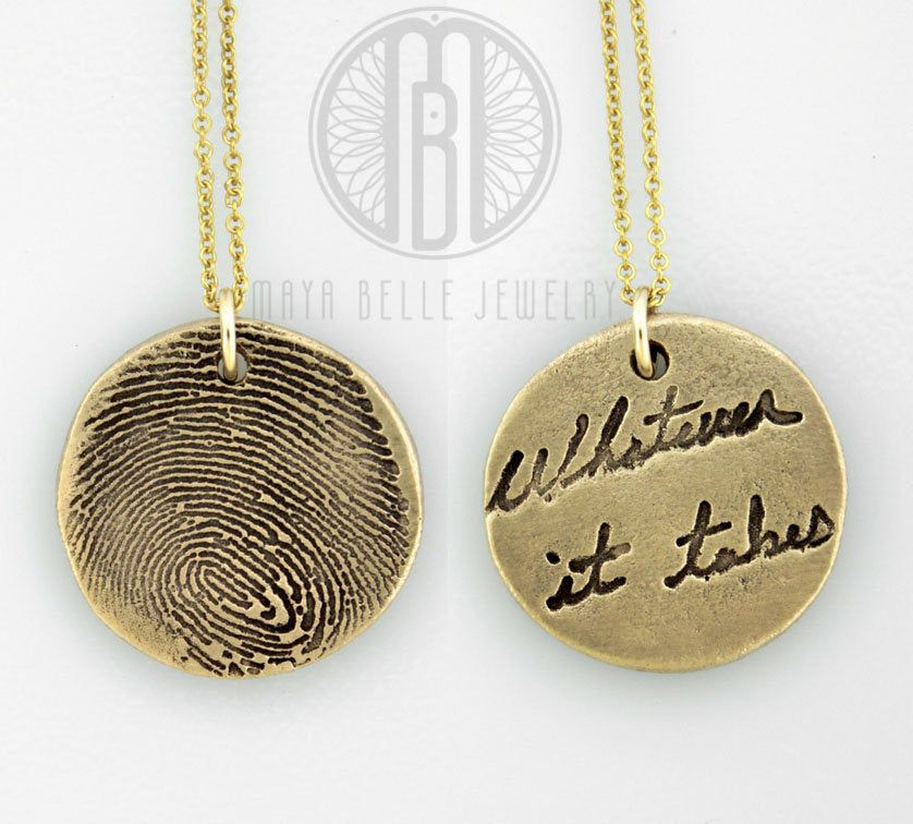 Fingerprint Bronze Oval And 14k Gold Filled Necklace Made From Etsy In 2021 Actual Handwriting Necklace Handwriting Necklace Fingerprint Jewelry