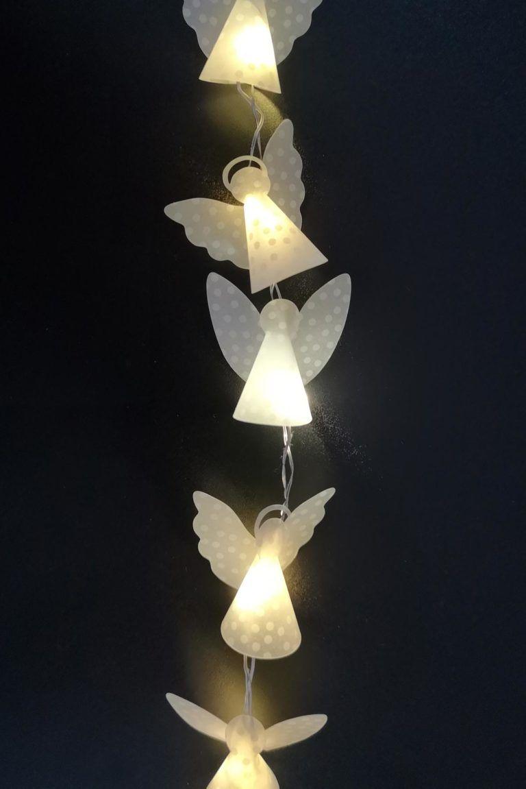 Mini-Engel-Lichterkette basteln - mit Vorlage- kugelig.com #kleeblattbasteln