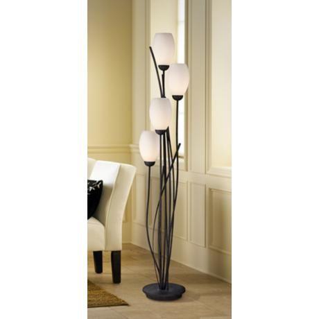 Black Metal And White Glass Tulip 4 Light Floor Lamp   Style # U2560
