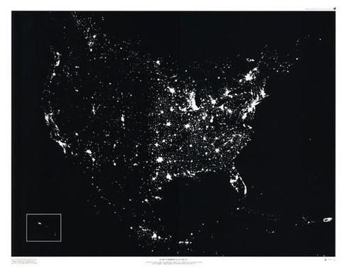 North America at Night Framed Satellite Image Map | Image ... on black and white portraits of women, latitude and longitude of usa, black and white map of asia,