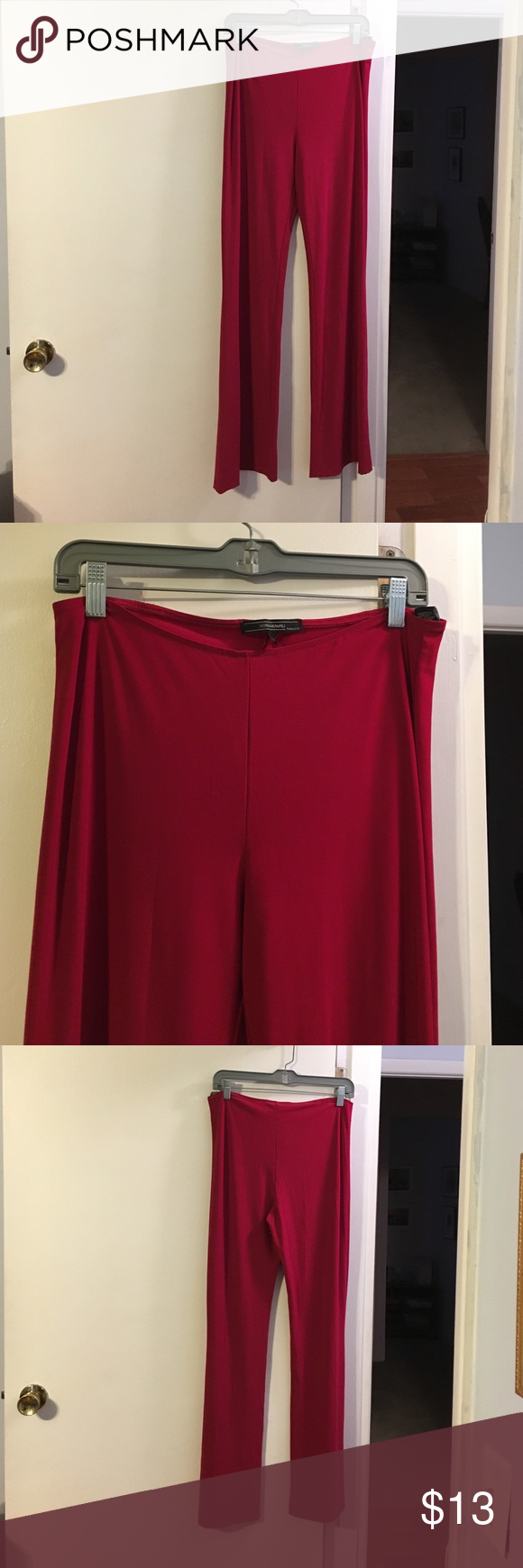 Norma Kamali red soft pants Elastic waist. Lightweight. Poly with a touch of spandex. Norma Kamali Pants