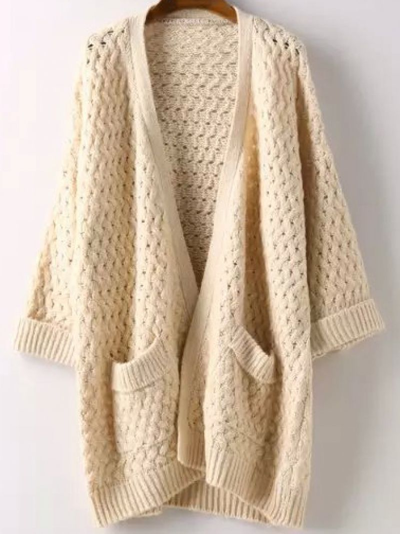 Beige Short Sleeve Pockets Chunky Cardigan | Beige shorts, Chunky ...