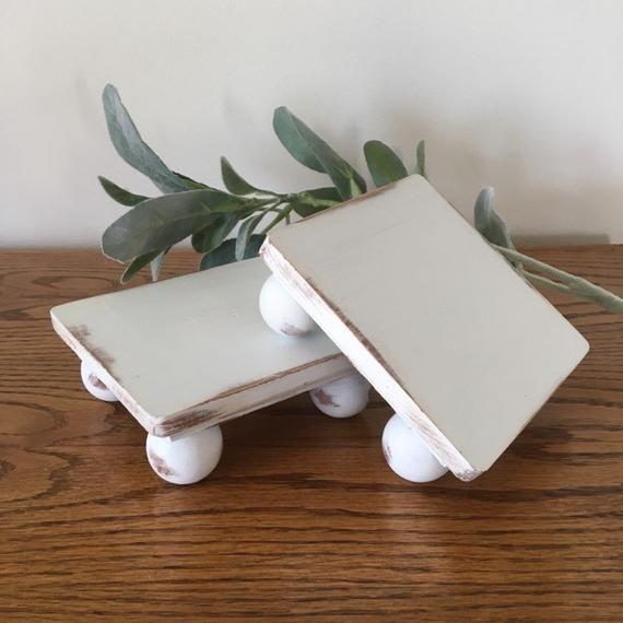 Photo of Farmhouse Riser, Rustic Wood Mini Stand, Set of 2 Mini Risers, Mug Riser, Farmhouse Decor, Rustic Decor, Square Stand, Pedestal Stand Tray