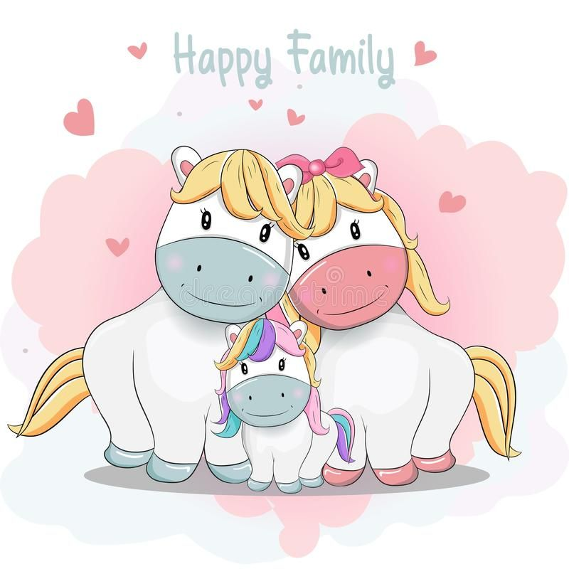 Cute Cartoon Pony Family Hand Drawing Style Illustration About Bright Horse Card Cute Happy Girl Valentine Cartoon Cute Cartoon Drawings Family Cartoon