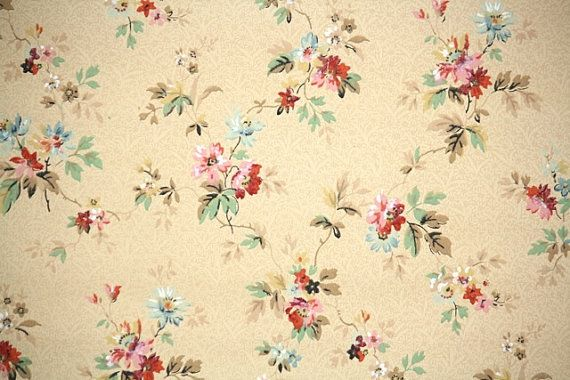 1940 S Vintage Wallpaper Pink And Blue Floral In 2019