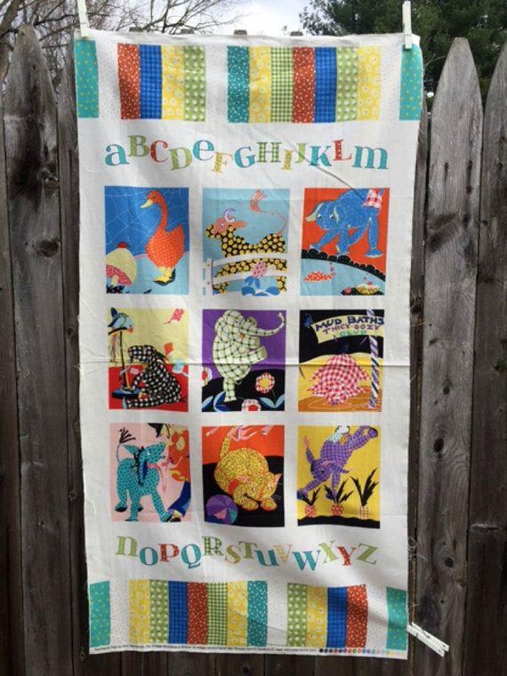 Patchwork Pals Baby Quilt Fabric Panel Colorful Block Alphabet Animals Nursery Decor