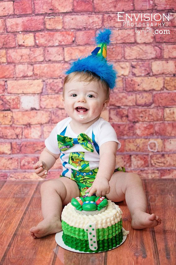 Luke S One Year Birthday Session Envision Photography By April Ninja Turtles Birthday Party Tmnt Birthday Turtle Birthday Parties
