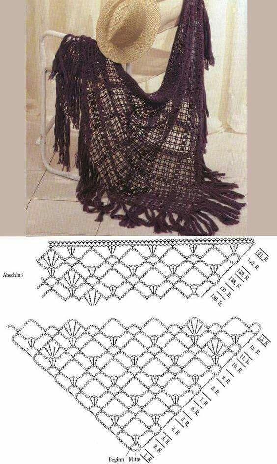 Pin de Αναστασία Λάλου en knit   Pinterest   Chal, Mantas de puntos ...