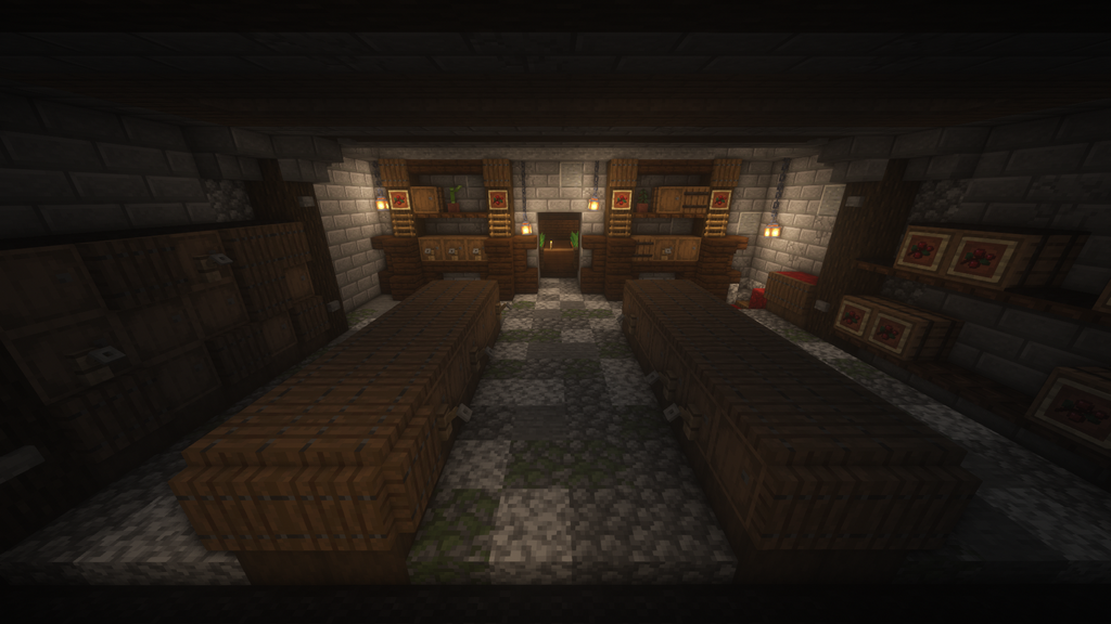 This Is A Wine Cellar That Myself And A Friend Added Off Of My Kitchen Farm Area My Favorite Details Are The Wine Cellar Farm Design Minecraft Interior Design