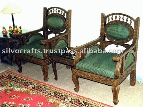Indian Teak Wood Hand Carved Living Room Furniture With