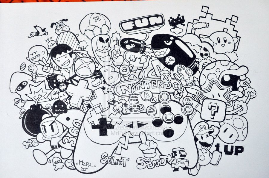 Nintendo by on deviantart doodle for Doodle characters