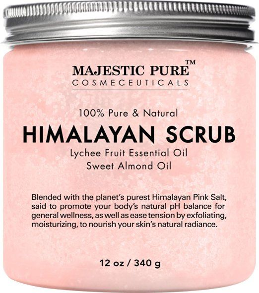 Resultado de imagen para Majestic Pure Himalayan Salt Body Scrub with Lychee Essential Oil,