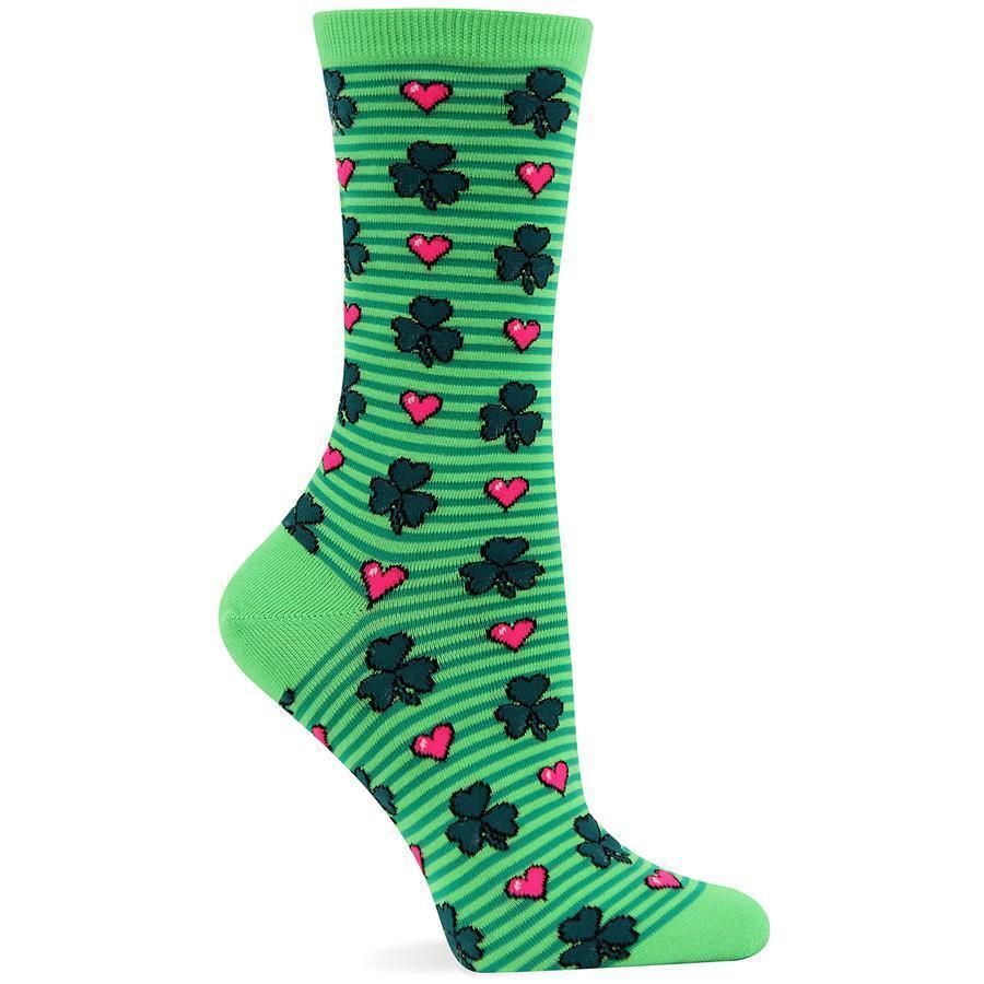 Hot Sox Womens Clovers and Hearts Socks Bright Green St Patricks Day 9-11 #HotSox #Casual