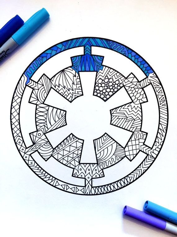 Galactic Empire Star Wars Symbol Pdf Zentangle Coloring Page In