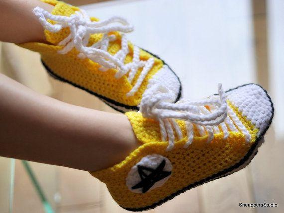 48afa15e5ebb Women s Adult Crochet Converse high tops Women by SneappersStudio ...