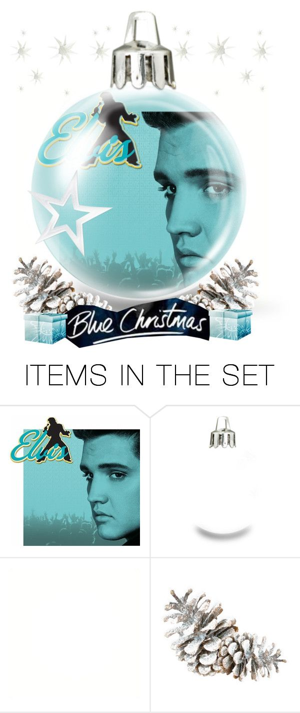 """""""Elvis Blue Christmas Ornament"""" by smorgasbordhotel ❤ liked on Polyvore featuring art"""