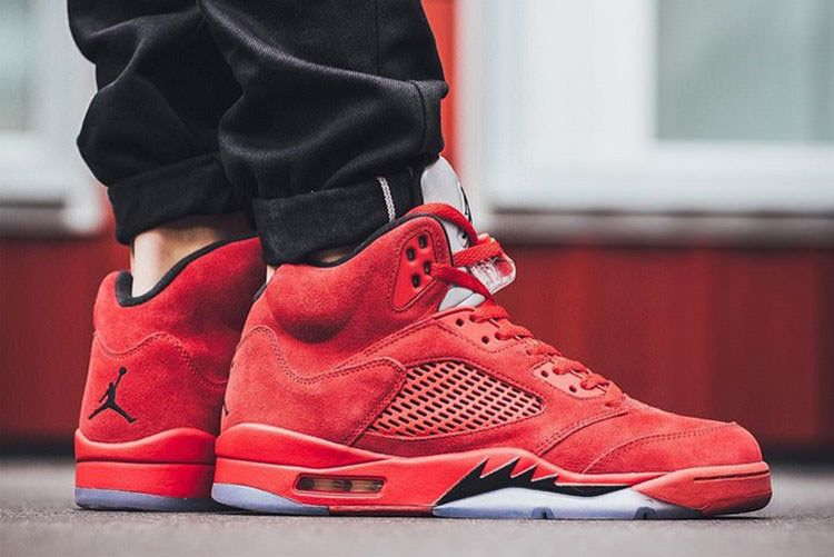 Air Jordan 5 Retro Red Suede Shoe With Compared The