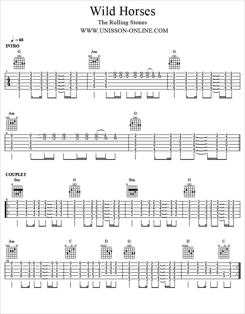 Wild Horses The Rolling Stones Tablature Guitar Pro Guitar In 2018