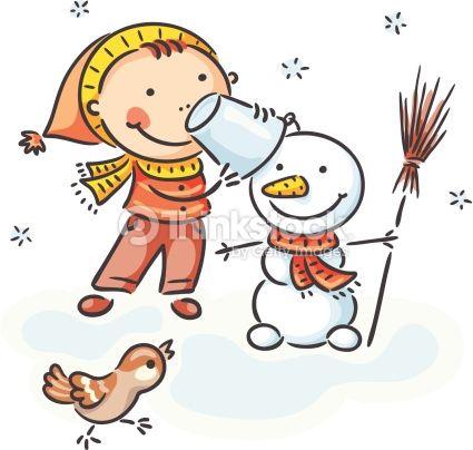A Little Boy Is Making A Snowman No Gradients Bonecos De