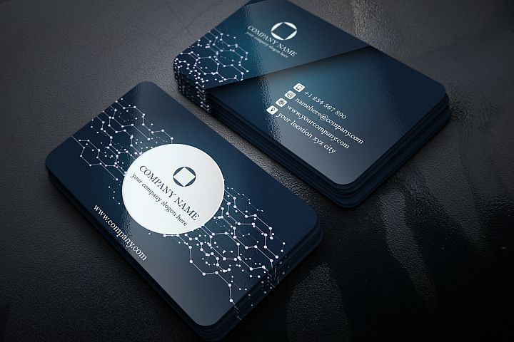Abstract Business Card With Electronic Circuit Touch 64171 Business Cards Design Bundles Digital Business Card Electronic Business Business Card App