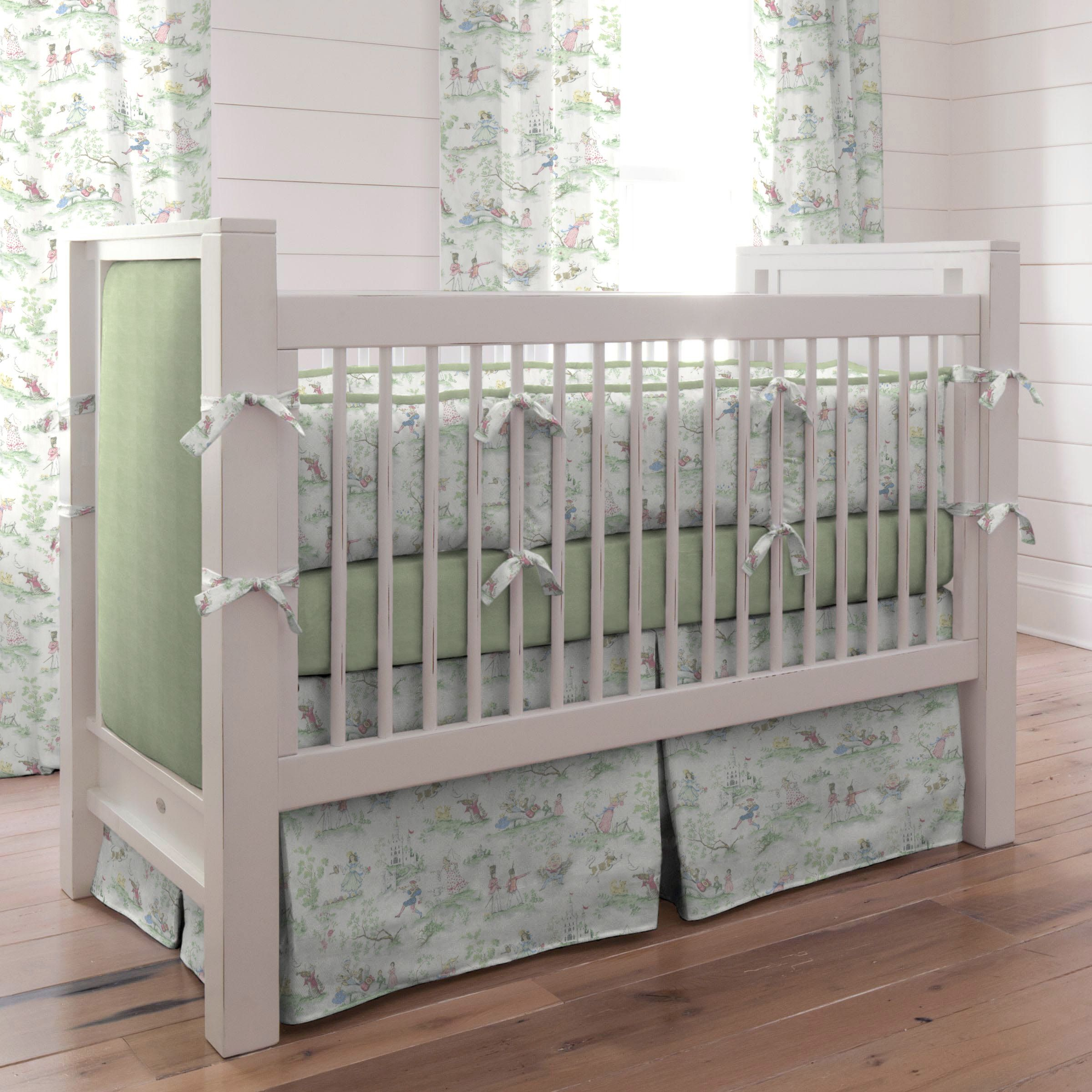 Baby cribs green - Nursery Rhyme Toile Sage Baby Crib Bedding