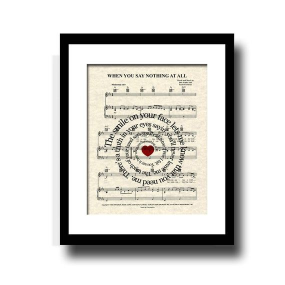 When You Say Nothing At All Song Lyric Sheet Music Art Print Love