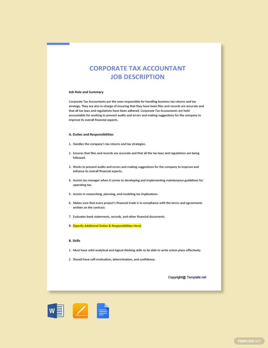 Free Corporate Tax Accountant Job Description in 2020
