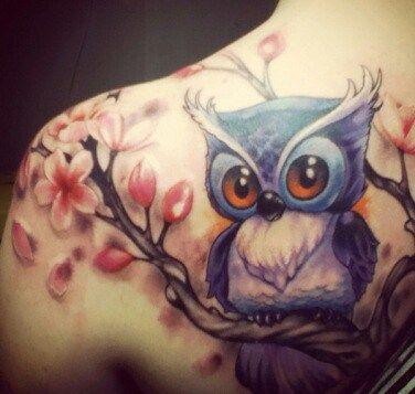 Cute Big Eyes Of An Owl Cute Owl Tattoo Colorful Owl Tattoo Tree Tattoo