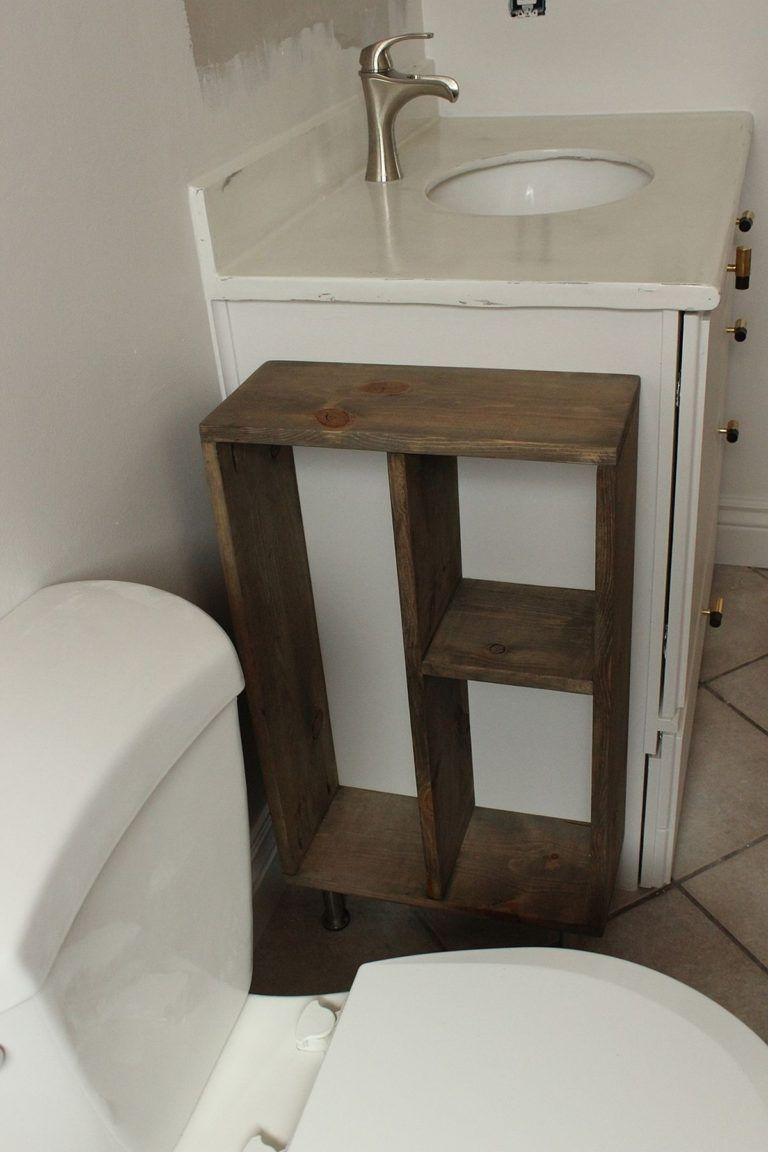 Hide Unsightly Toilet Items With This Diy Side Vanity Storage Unit Rustic Bathroom Decor Diy Furniture Diy Home Decor