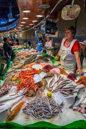 Fish Stall In La Boqueria Food Market Barcelona Catalonia Barcelona Food Market Outdoor Market