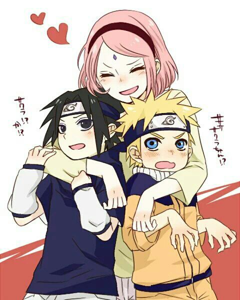 Older Sakura with younger Sasuke & Naruto so cute :3 ...