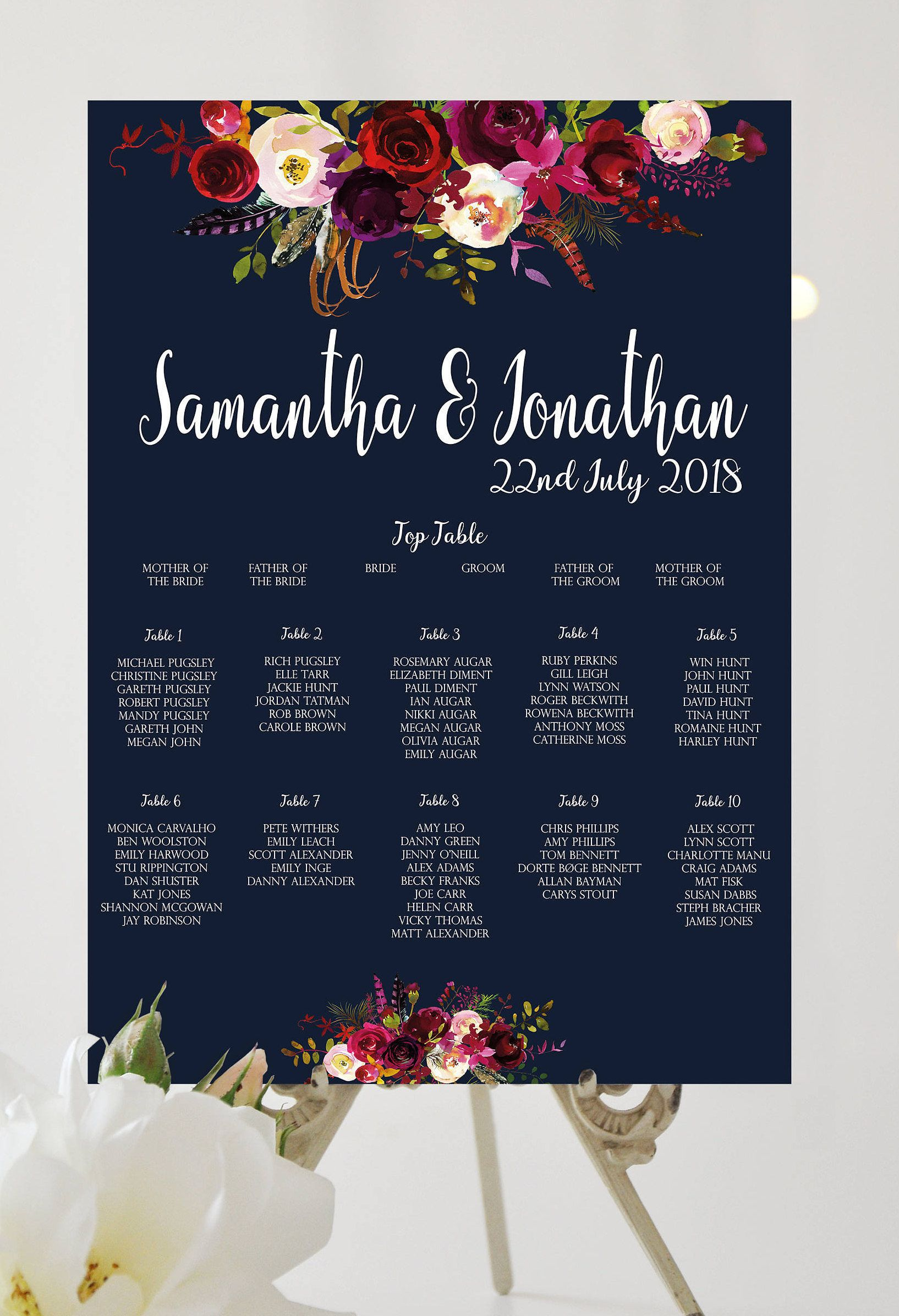 Navy Floral Table Plan Wedding Seating Chart Table Chart