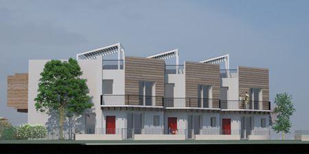 Progetto di tre villette a schiera in paglia classe a fano pu villette a schiera in - Casa a schiera progetto ...