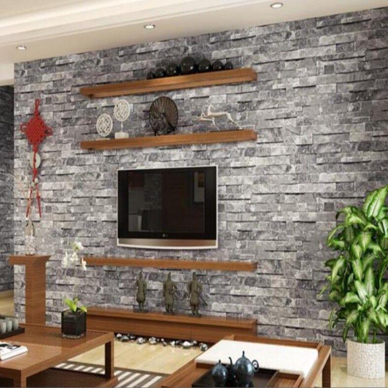 Stunning Contemporary Beachhouse Combining Textured Brick: Rustic Modern 3d Room Faux Brick Wall Wallpaper Bedroom