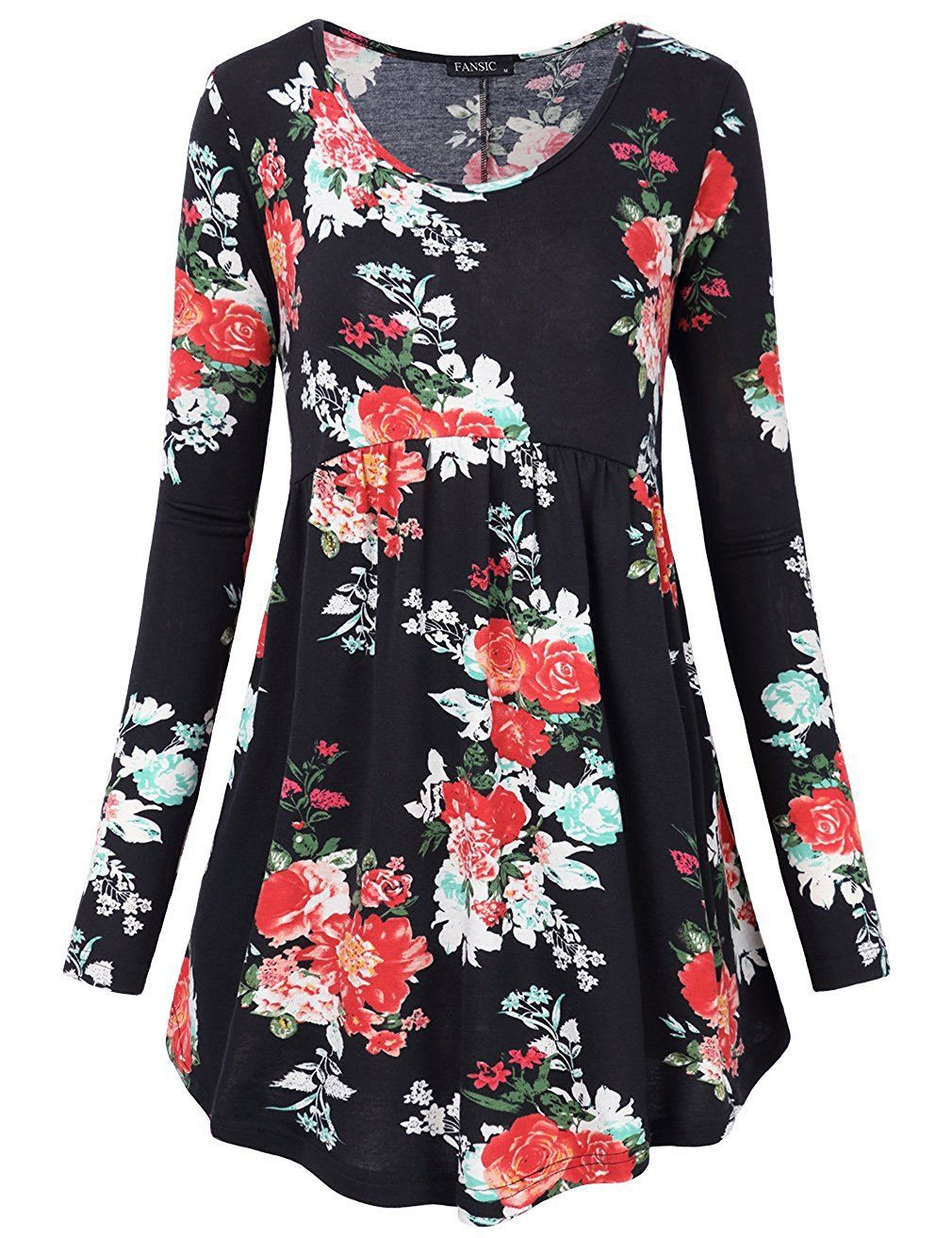 4f96668ec1f FANSIC Women Floral Tops,Long Sleeve Empire Waist A Line Flowy Tunics  Blouses