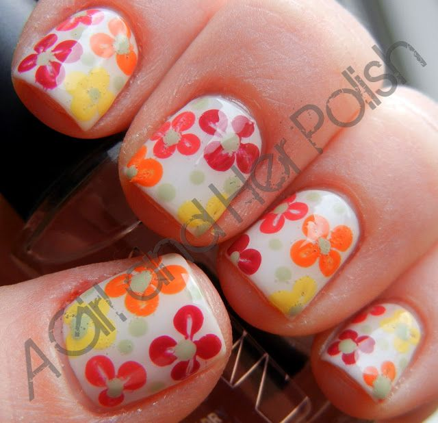 A Girl And Her Polish Dot Flower Nail Art Nail Art Pinterest