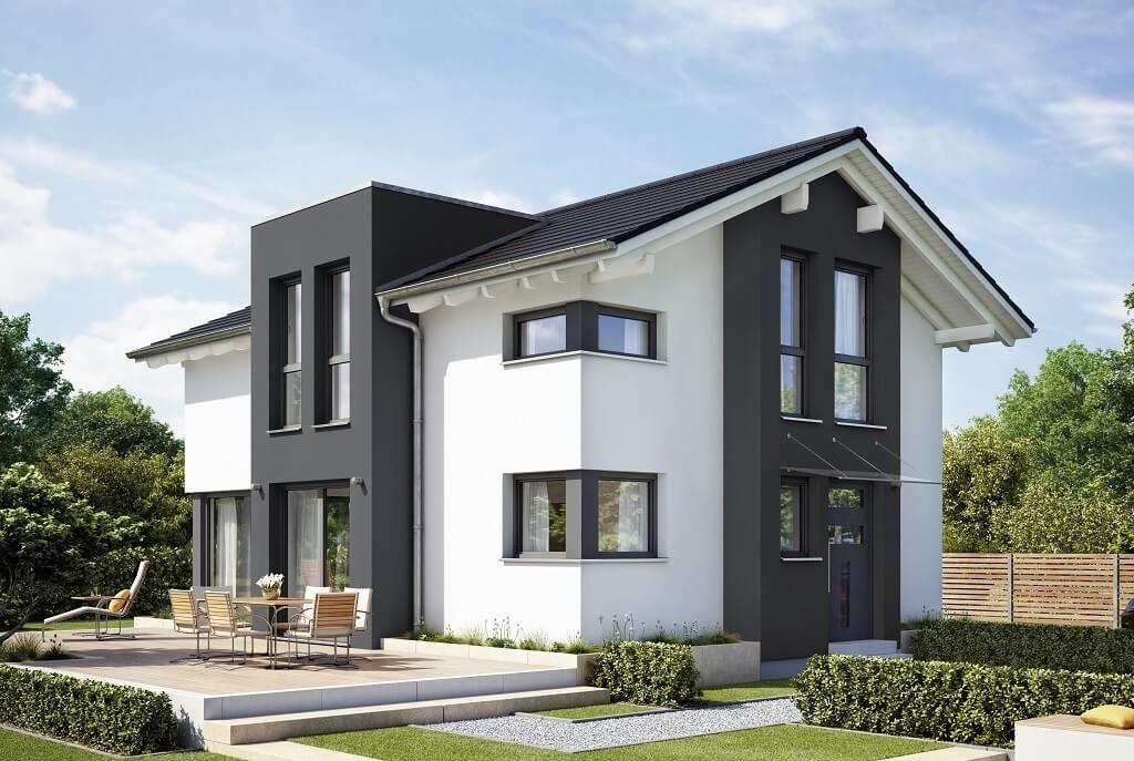 Modernes satteldach haus mit querhaus und putz fassade for Einfamilienhaus bauen ideen