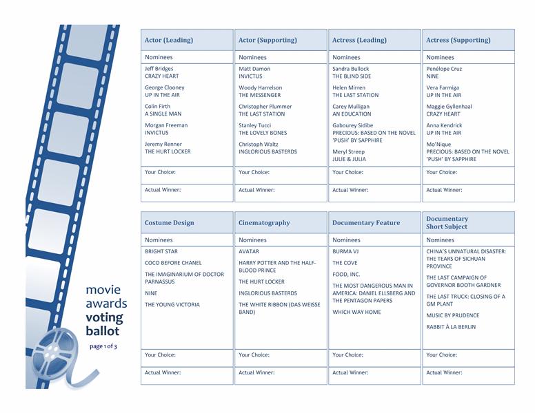 Movie Awards Ballot Free Certificate Templates