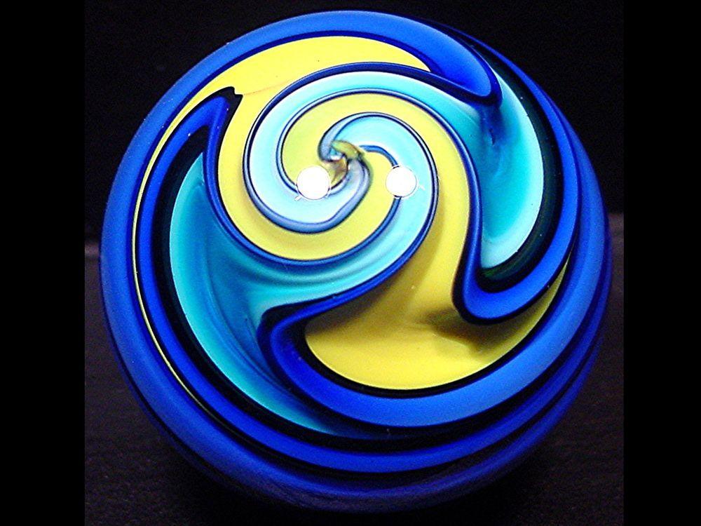 Fritz Lauenstein Contemporary Art Glass Marble Mint 1.55 inch 2003 reverse twist #ContemporaryArtGlassmarble #reversetwistswirl