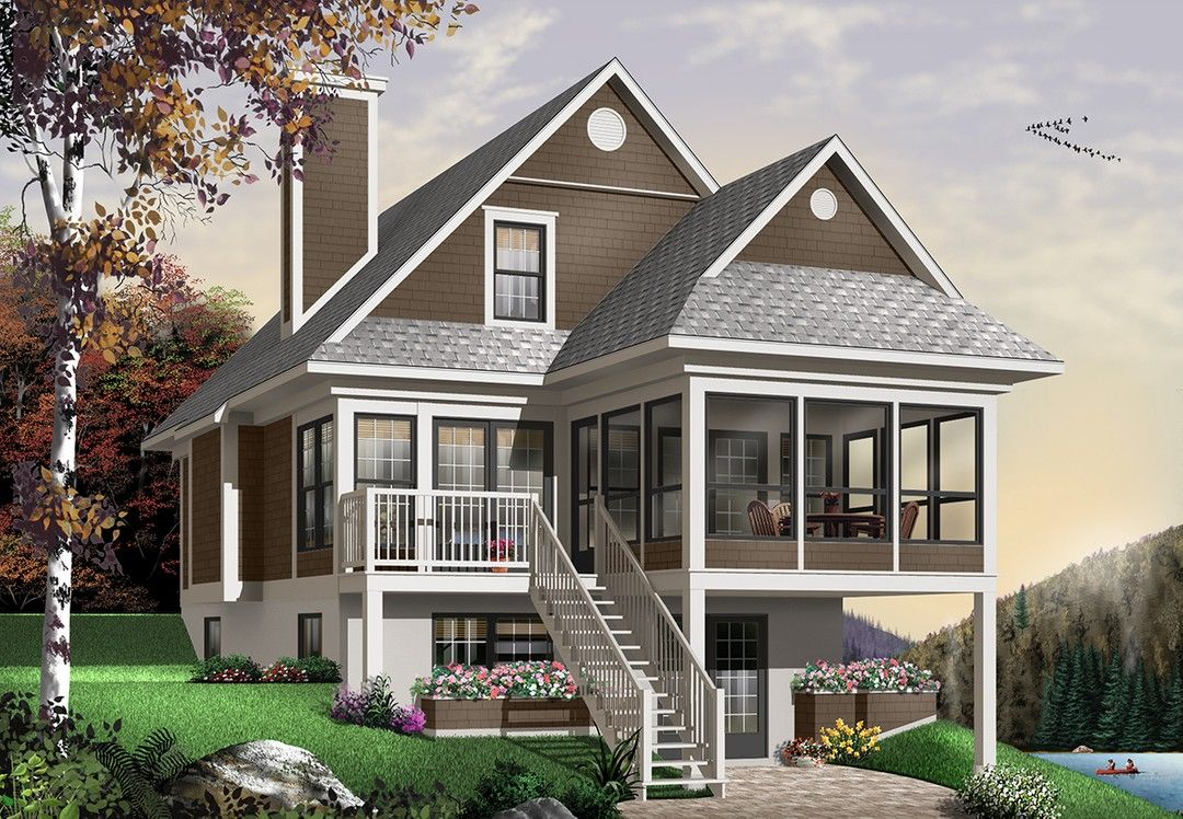 Hpm Home Plans Home Plan 728 4916 Beach Style House Plans Sloping Lot House Plan Lake House Plans