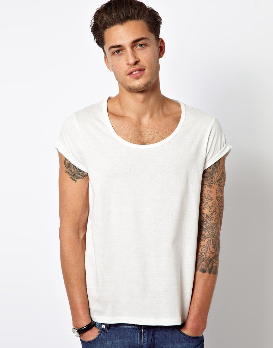 Asos tshirt with bound scoop neck and roll sleeve was