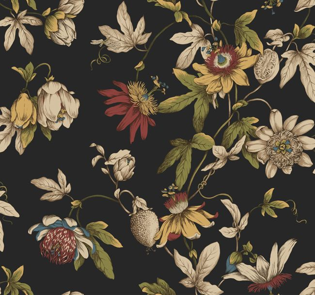 Black Ca7590 Tropical Floral Wallpaper By Seabrook