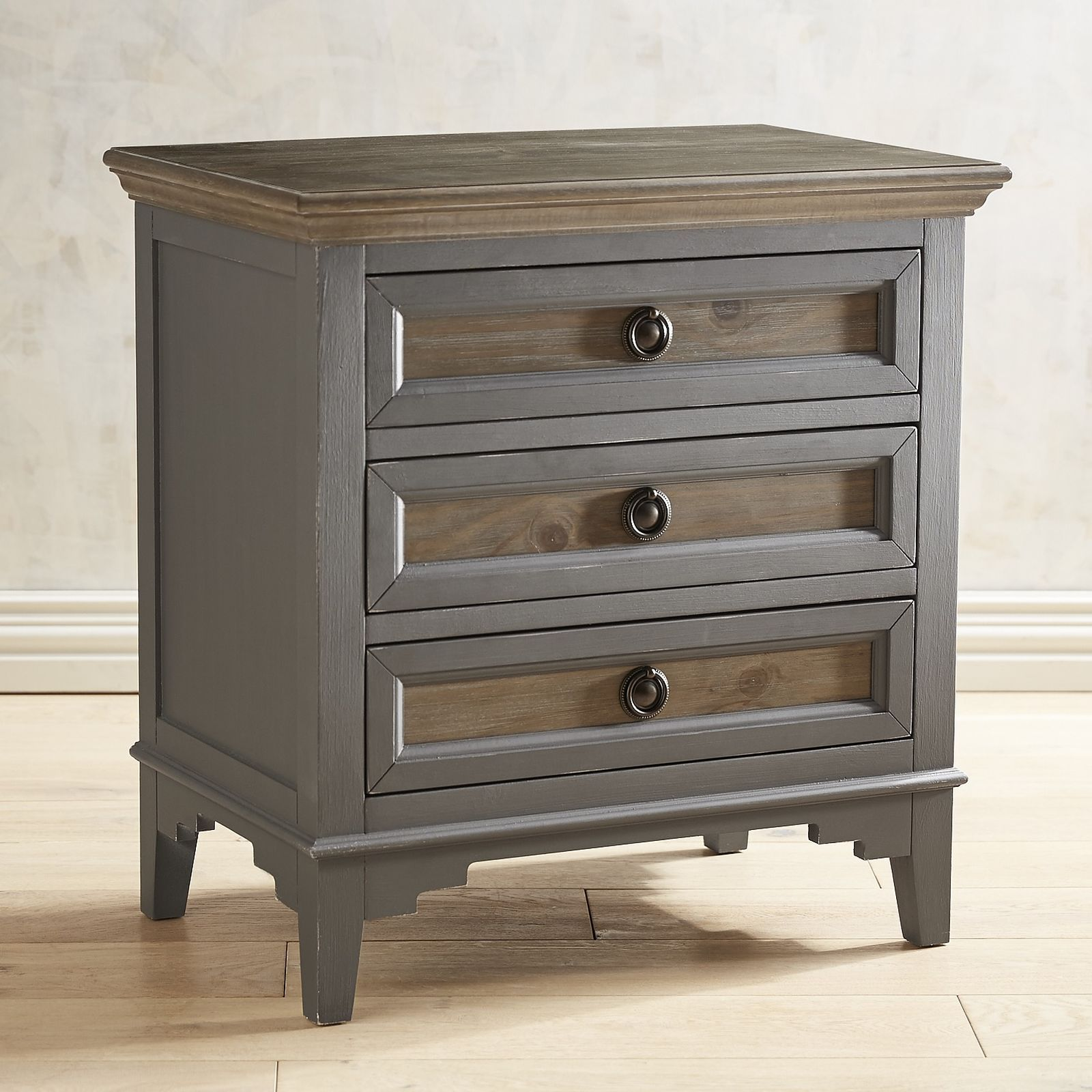 Weston Slate Bedside Chest With Saddle Wood In 2019