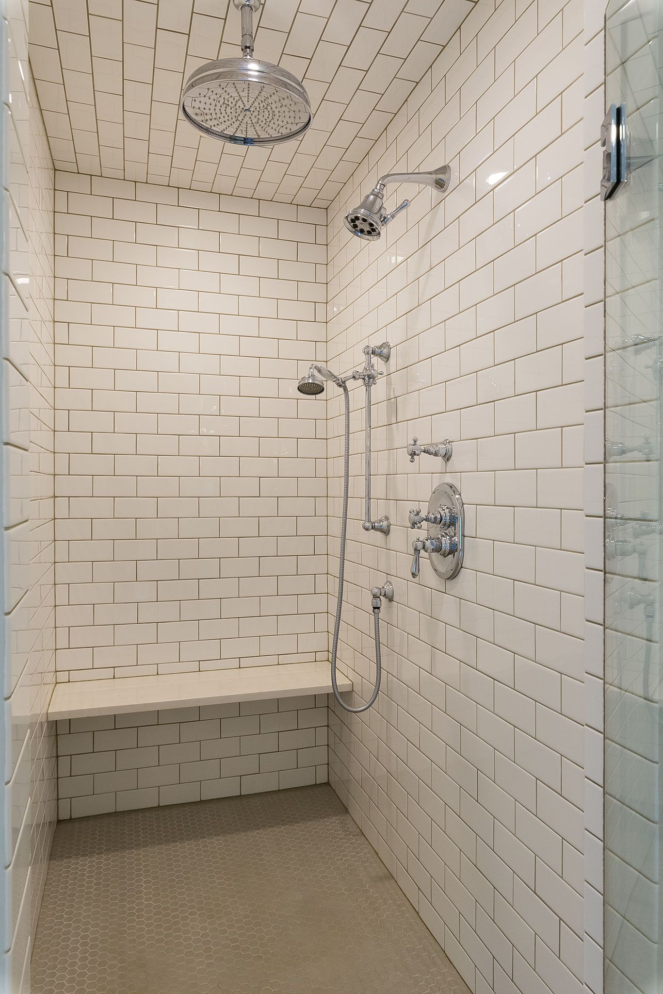 Master Bathroom Shower with multiple shower heads. 6x6 white