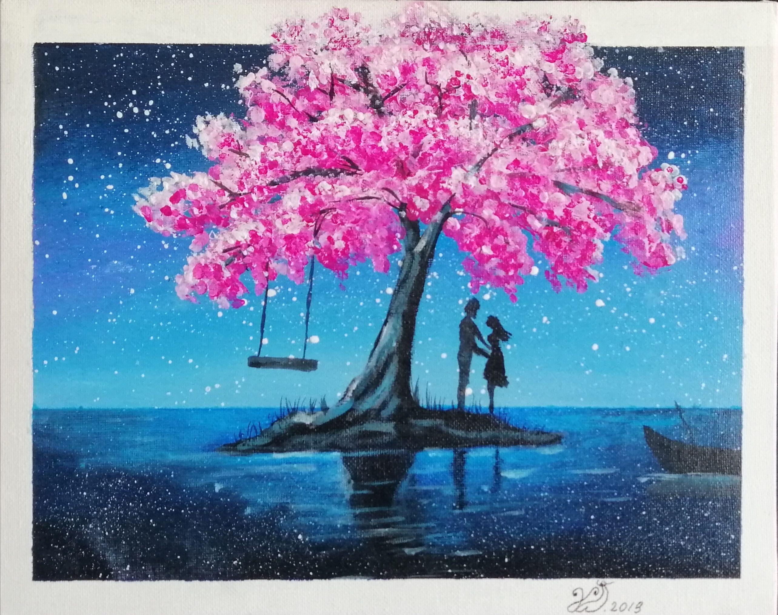Kirschbaum Cherry Blossom Painting Art Drawing Scenery