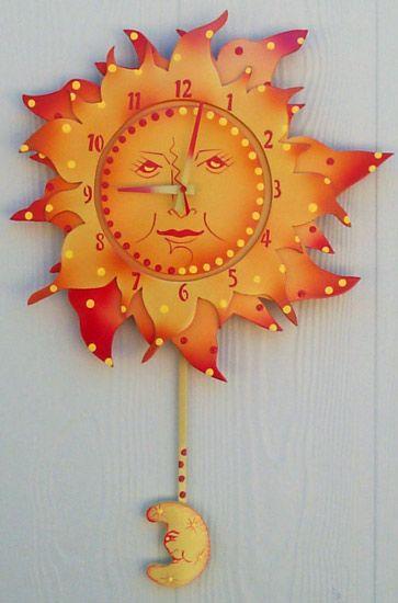Sun And Moon Pendulum Clock Retro Wall Clock Clock