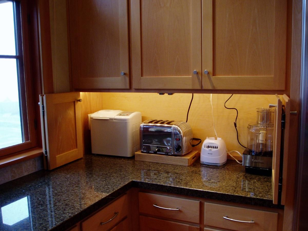 Appliance Garages Kitchen Cabinets Appliance Garage With Lighting And Plug Mold Above For The Home