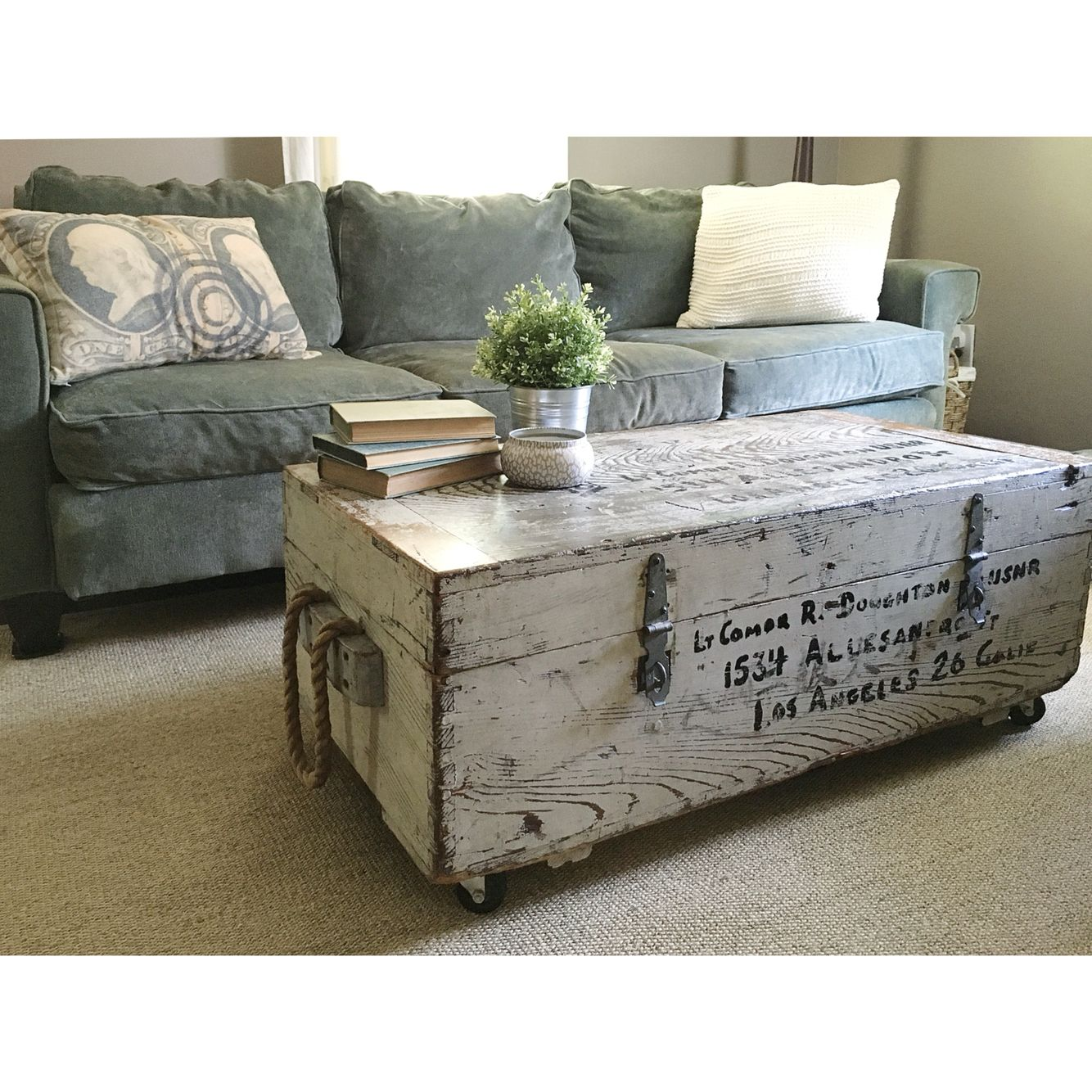 Vintage Wwii Foot Locker Repurposed Into Coffee Table And Blanket Storage Ethelusvintage Etsy