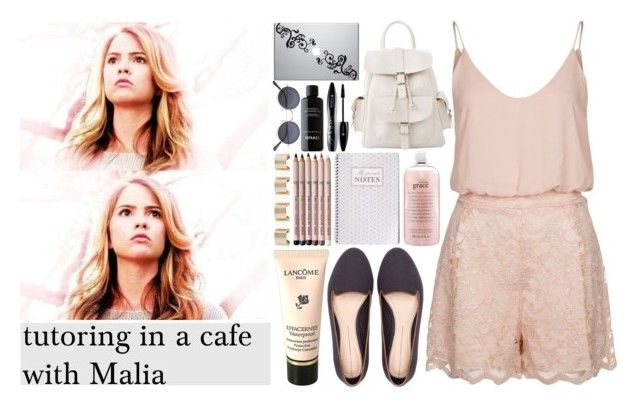 """""""tutoring in a cafe with Malia"""" by little-onedirection ❤ liked on Polyvore featuring TFNC, Pull&Bear, philosophy, Aveda, Maison Margiela, MANGO and Lancôme"""
